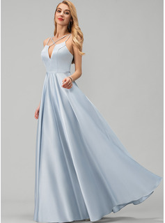 V-neck Floor-Length Satin Prom Dresses