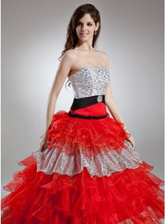 Ball-Gown Strapless Floor-Length Organza Quinceanera Dress With Beading Crystal Brooch Cascading Ruffles