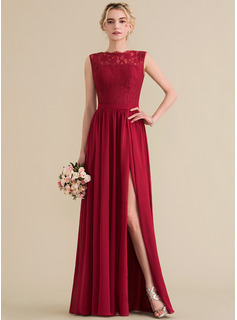 A-Line Scoop Neck Floor-Length Chiffon Lace Evening Dress With Split Front