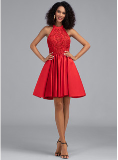 A-Line Halter Short/Mini Satin Homecoming Dress With Pockets