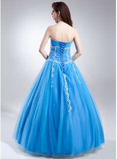 Ball-Gown Sweetheart Floor-Length Tulle Quinceanera Dress With Ruffle Beading Appliques Lace Sequins