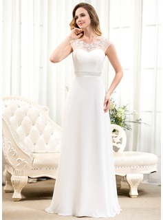 A-Line/Princess Scoop Neck Sweep Train Chiffon Wedding Dress With Beading Appliques Lace Sequins Bow(s)