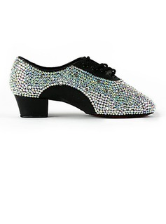 Men's Leatherette Flats Practice With Rhinestone Dance Shoes