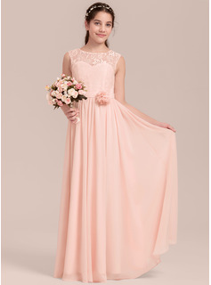 A-Line/Princess Scoop Neck Floor-Length Chiffon Junior Bridesmaid Dress With Flower(s)