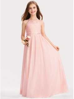 Scoop Neck Floor-Length Chiffon Lace Junior Bridesmaid Dress With Beading Sequins