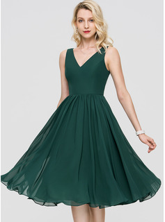 V-Neck Chiffon Cocktail Dress