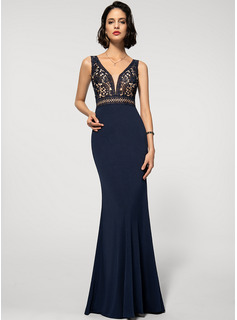 Trumpet/Mermaid V-neck Floor-Length Lace Jersey Evening Dress