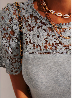 Regular Lace Solid Casual Short Sleeves