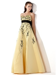 Empire Sweetheart Floor-Length Satin Prom Dresses With Embroidered Sash Beading Bow(s)