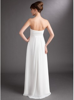 Empire Sweetheart Floor-Length Chiffon Wedding Dress With Cascading Ruffles