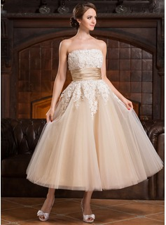 Ball-Gown Strapless Tea-Length Tulle Wedding Dress With Beading Appliques Lace Sequins