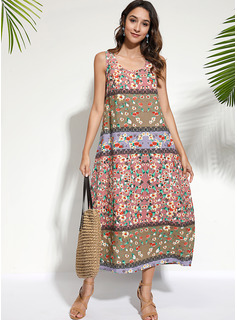 Cotton/Linen With Print Midi Dress