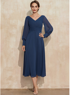 A-Line V-neck Tea-Length Chiffon Cocktail Dress With Ruffle