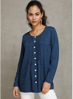 Long Sleeves Polyester Round Neck Knit Ruffle Blouses Blouses