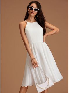 Scoop Neck Knee-Length Chiffon Wedding Dress