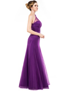 A-Line/Princess One-Shoulder Floor-Length Tulle Bridesmaid Dress With Ruffle Flower(s)