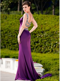 A-Line/Princess Sweetheart Sweep Train Charmeuse Evening Dress With Beading Split Front