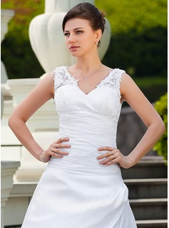 A-Line/Princess V-neck Court Train Taffeta Wedding Dress With Ruffle Appliques Lace