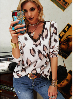 Regular Fitted Lace Casual Long Sleeves