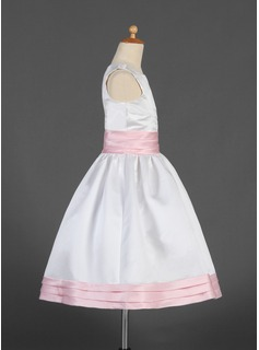 A-Line/Princess Tea-length Flower Girl Dress - Satin Sleeveless Scoop Neck With Sash