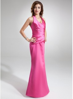 Trumpet/Mermaid Halter Floor-Length Satin Holiday Dress With Ruffle