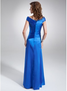 A-Line/Princess Off-the-Shoulder Floor-Length Charmeuse Mother of the Bride Dress With Ruffle Beading Sequins