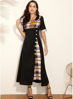 Polyester With Button/Plaid Maxi Dress
