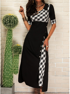 Plaid A-line Round Neck 1/2 Sleeves Maxi Casual Skater Dresses