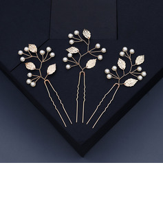 Ladies Beautiful Imitation Pearls Combs & Barrettes With Venetian Pearl (Set of 3)