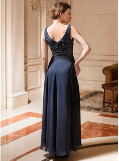 A-Line/Princess V-neck Ankle-Length Chiffon Mother of the Bride Dress With Beading