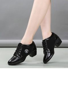 Women's Cloth Heels Latin Modern Character Shoes With Lace-up Dance Shoes