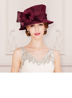 Ladies' Glamourous/Classic/Elegant Cambric With Feather Bowler/Cloche Hats/Kentucky Derby Hats