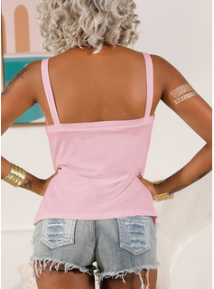 Regular Polyester Strap Solid Fitted Blouses
