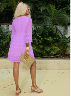Lace Solid V-Neck 3/4 Sleeves Midi Dresses
