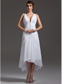 A-Line V-neck Asymmetrical Chiffon Wedding Dress With Ruffle Beading