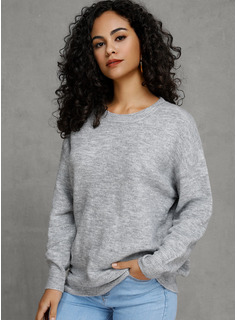 Solid Polyester Cotton Round Neck Pullovers Sweaters