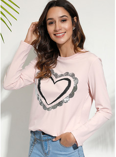 Long Sleeves Polyester Round Neck T-shirt Blouses