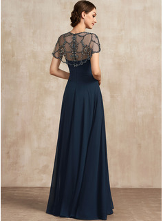 A-Line Scoop Neck Floor-Length Chiffon Evening Dress With Ruffle Beading Sequins