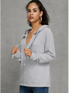 Solid Polyester V-neck Pullovers Sweaters