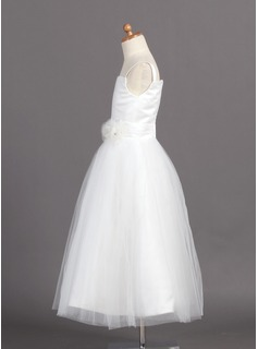 Ball Gown Ankle-length Flower Girl Dress - Satin/Tulle Sleeveless Straps With Flower(s)