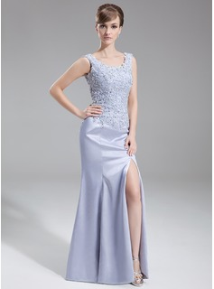 Trumpet/Mermaid Scoop Neck Sweep Train Charmeuse Mother of the Bride Dress With Lace Beading Sequins Split Front