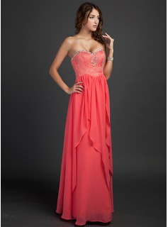A-Line/Princess Sweetheart Floor-Length Chiffon Holiday Dress With Beading