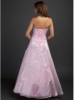 A-Line/Princess Sweetheart Floor-Length Organza Quinceanera Dress With Embroidered Beading Sequins