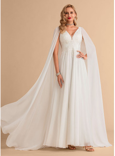 A-Line V-neck Floor-Length Chiffon Wedding Dress With Lace Sequins