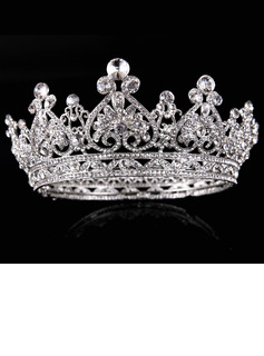 Ladies Magnificent Alloy Tiaras With Rhinestone/Venetian Pearl