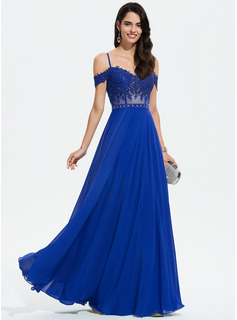 A-Line V-neck Floor-Length Chiffon Prom Dresses With Beading Sequins