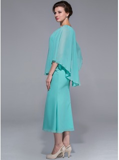 A-Line/Princess Scoop Neck Tea-Length Chiffon Mother of the Bride Dress