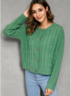 Cable-knit Chunky knit Solid Polyester Cardigans Sweaters