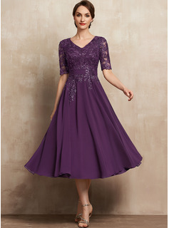 A-Line V-neck Tea-Length Chiffon Lace Cocktail Dress With Sequins
