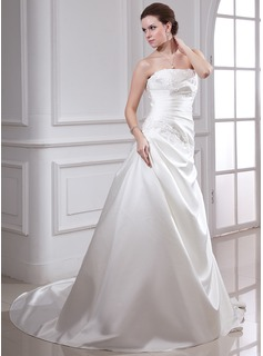 A-Line/Princess Strapless Chapel Train Satin Wedding Dress With Ruffle Beading Appliques Lace